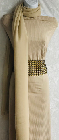 Beige Pin striped Jersey suit with trim SP291-4 midtex