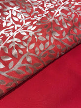 Load image into Gallery viewer, Cherry Red Plaachi Leaf design with crepe Dupputa SP294-4  midtex
