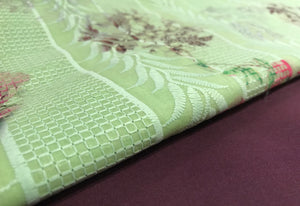 Lime Green with Aubergine Roses cotton Suit SP164-3 midtex