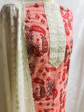 Load image into Gallery viewer, Peach with Coral paisley print chikan cotton fabric set SP134- 2 midtex