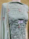 Sage Green Chiffon with the thread embroidery SP374-5 midtex