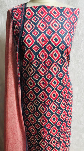 Red and grey  lawn diamond print cotton fabric set with chiffon dupputa SP133-3 midtex