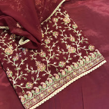 Load image into Gallery viewer, Maroon Chiffon with the beige thread work embroidery SP298-1 midtex