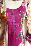 Lilac large size 3 piece lawn ready made suit with thread neck embroidery SP208-3 midtex