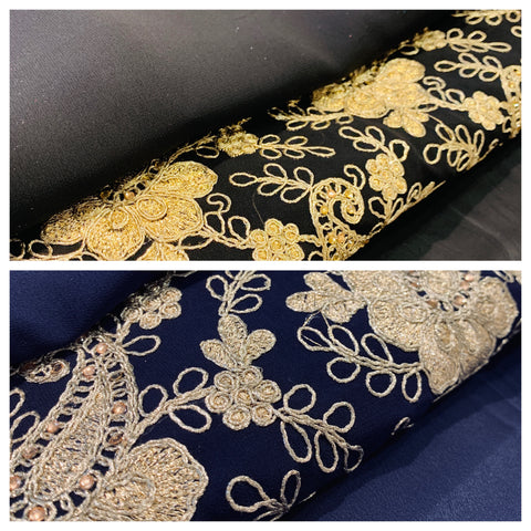 Gottha gold embroidery work on chiffon at Midtex Collection SP451