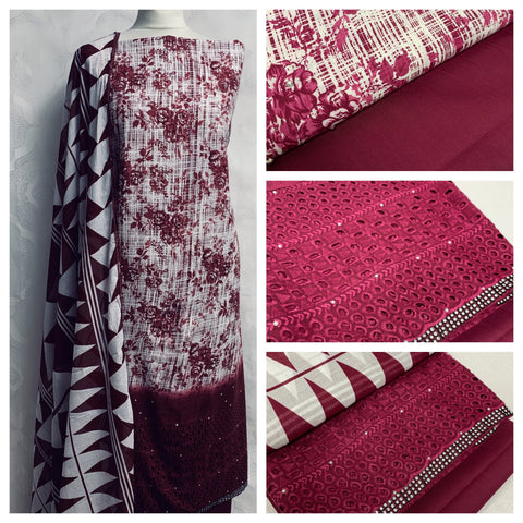 Maroon linen Spring Summertime Midtex Collection SP439