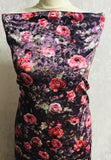 Violet Two way Velvet suit with a floral rose print SP295-4 Midtex
