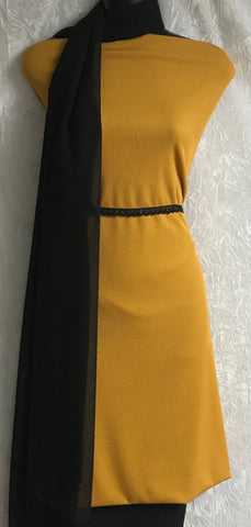 Mustard & Black Pin striped Jersey kameez with linen trousers SP291-1 midtex