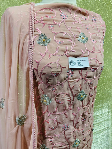Rose Pink Chiffon with the thread embroidery SP374-4 midtex