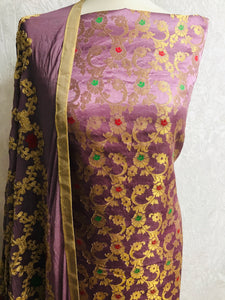 Lilac 3 piece Embroidered Banaarsi suit SP158-1 midtex