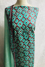 Load image into Gallery viewer, Mint and chocolate Lawn diamond print cotton fabric set with chiffon dupputa SP133-1 midtex