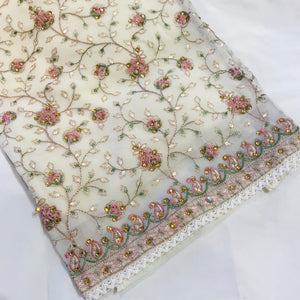 Chiffon with the thread embroidery SP270-2 midtex