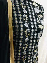 Load image into Gallery viewer, Black with light grey Embroidery on chiffon bordered suit with gem stones SP153-3 midtex