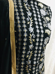 Black with light grey Embroidery on chiffon bordered suit with gem stones SP153-3 midtex