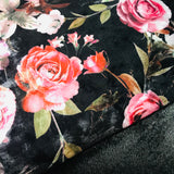 Black Two way Velvet suit with a floral rose print SP295-1 Midtex