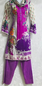 large size 3 piece lawn ready made suit with thread neck embroidery SP208-3 midtex
