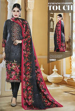 Load image into Gallery viewer, Charcoal Grey Unstitched Warm Marina suit with shawl and neck embroidery SP299 -2 midtex