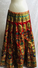 Load image into Gallery viewer, Red and Gold Brocade Lengha CanCan skirt SP166-1 midtex