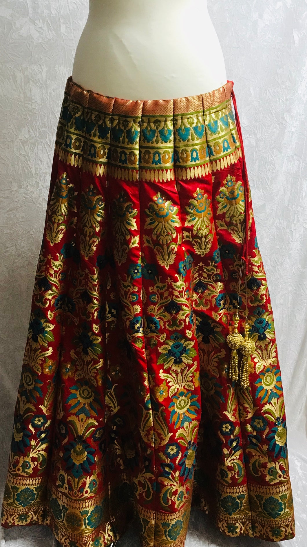 Red and Gold Brocade Lengha CanCan skirt SP166-1 midtex