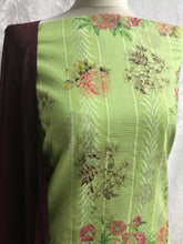 Load image into Gallery viewer, Lime Green with Aubergine Roses cotton Suit SP164-3 midtex
