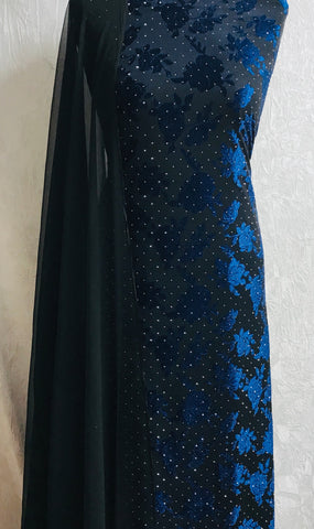Black and blue jersey fabric set with chiffon  dupputta  SP146-midtex