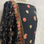 Black Chiffon with thread and tillah embroidery work SP434-1 midtex