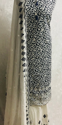 White & Navy 3 piece lawn embroidered cotton suit with embroidered Mal Mal  shawl  SP197-1 midtex