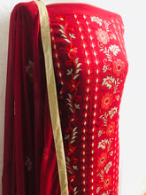 Load image into Gallery viewer, Maroon with light gold Embroidery on chiffon bordered suit with gem stones SP153-4 midtex