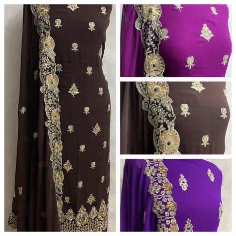 Gold Tillah thread embroidery wedding  party suit Midtex Collection SP448