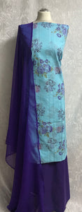 Sky Blue with Purple Roses cotton Suit SP164-2 midtex