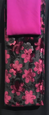 Maroon & Black Floral velvet with ribbed jersey Salwaar SP290-1 Midtex