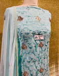 Mint Chiffon with the thread embroidery SP374-3 midtex