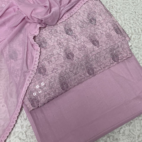 Lilac  3 piece all over Chikan embroidered cotton suit with crepe chiffon dupputa SP195-4  midtex