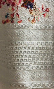 White Chikan cotton bordered suit SP151-1 midtex