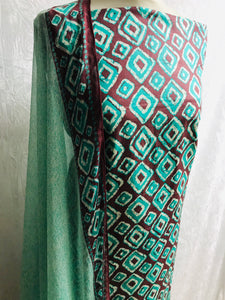 Mint and chocolate Lawn diamond print cotton fabric set with chiffon dupputa SP133-1 midtex