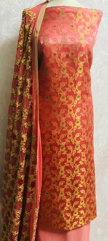 Coral 3 piece Embroidered Banaarsi suit SP158-2 midtex