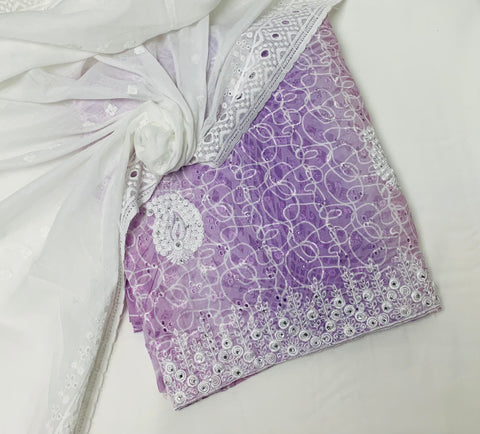 Lilac & White cotton With embroidery work -Mal Mal dupputa SP380-1 midtex