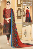Rusty Red Unstitched Warm Marina suit with shawl and neck embroidery SP299 -7 midtex