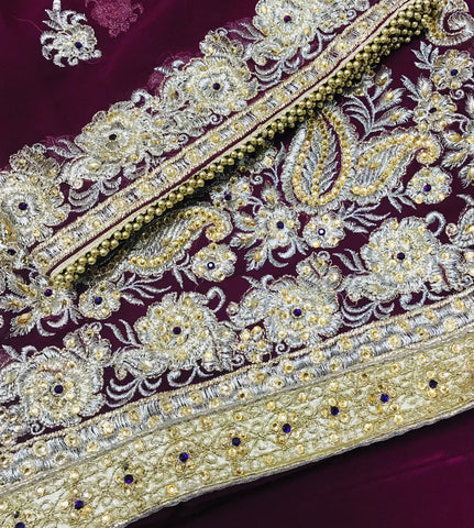 Maroon gold thread embroidered suit with gems and pearls SP297-1 midtex