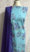Load image into Gallery viewer, Sky Blue with Purple Roses cotton Suit SP164-2 midtex