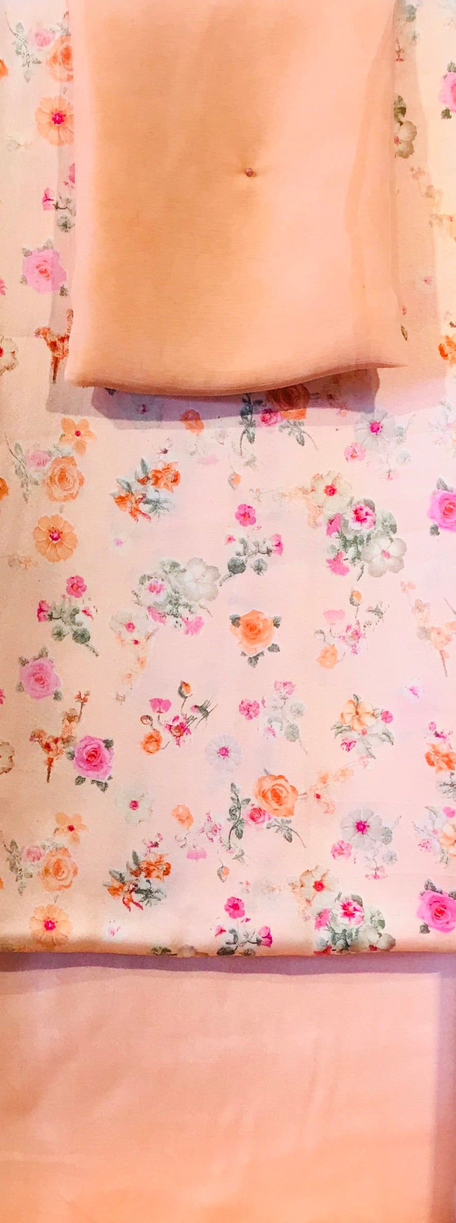 Peach Ditsy floral print on a soft a satin fabric set with printed chiffon  dupputa SP136-4 midtex