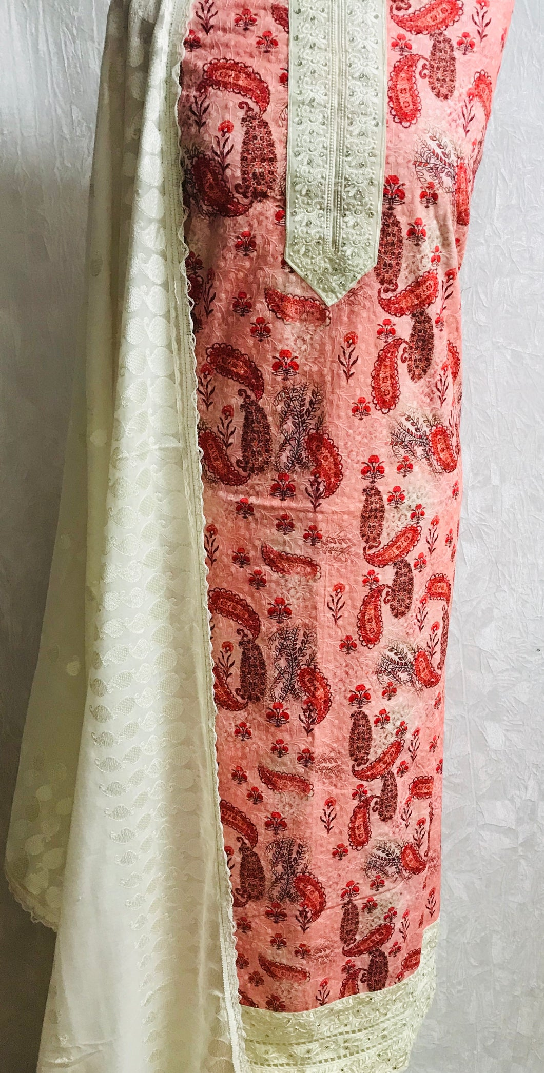 Peach with Coral paisley print chikan cotton fabric set SP134- 2 midtex