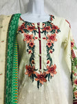 Cream & Green Small size 3 piece lawn ready made suit with thread neck embroidery SP207-1 midtex