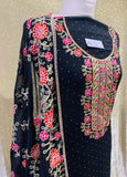 Navy Blue Sindhi embroidery fabric set SP375-1 midtex
