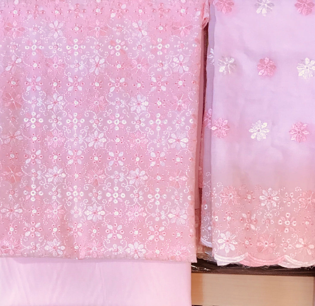 3 piece Chikan embroidered cotton suit shawl  SP147-1 midtex
