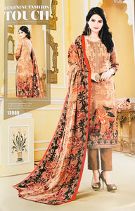 Caramel Brown Unstitched Warm Marina suit with shawl and neck embroidery SP299 -8 midtex