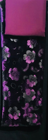 Purple & Black Floral velvet with ribbed jersey Salwaar SP290 - 4 Midtex