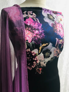 Floral Double print on soft a satin fabric set with printed chiffon  dupputa SP228-2 midtex