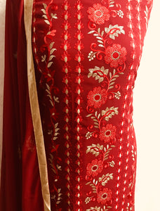 Maroon with light gold Embroidery on chiffon bordered suit with gem stones SP153-4 midtex