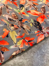 Load image into Gallery viewer, Charcoal Grey leaf  print in French crepe vaishali  fabric set with chiffon floral dupputa SP214-4 midtex